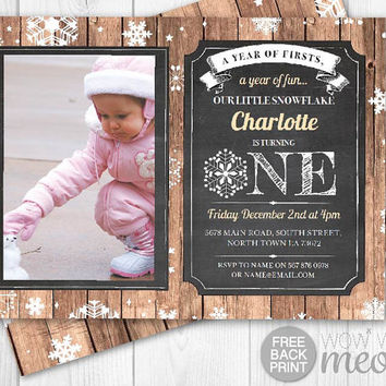 Winter First Birthday Invites Snowflake Invitations INSTANT DOWNLOAD One 1st Boys Girls Twins Rustic Photo Wood Christmas Printable Editable