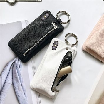 Phone Case with Leather wallet & Key Ring For for iPhone X (10)
