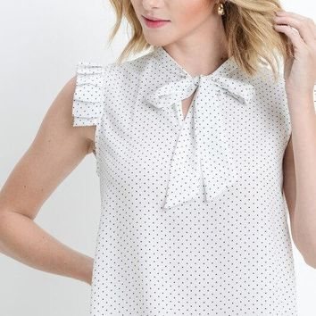 White Sleeveless Polka Dot Shirt