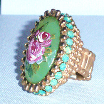 Shabby Chic Green Floral Statement Ring Boho Romantic Rhinestone Hand Paint Rose Adjustable Ring