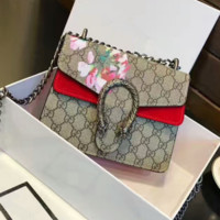 GUCCI Flower Print Women Shopping Leather Metal Chain Crossbody Satchel Shoulder Bag