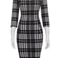 Black and White Square Neck Plaid Print Bodycon Midi Dress