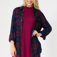Midnight Tab Sleeve Plaid Top