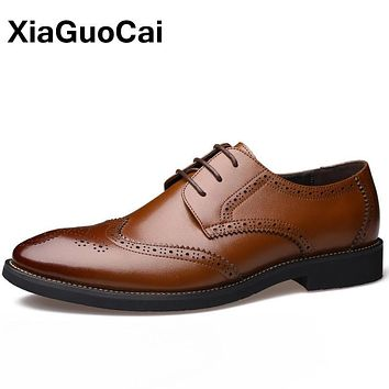 XiaGuoCai Autumn Luxury Men Brogue Shoes British Retro Men's Dress Shoes Business Lace Up Male Flats Bullock Wedding Shoes