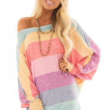 02c14cc3de0d3a Rainbow Striped Loose Fit Top with Long Sleeves