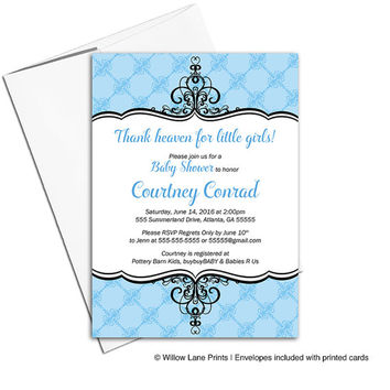 Royal baby shower invitation for boys | black and blue baby shower invite | thank heaven for little boys | printable or printed - WLP00751