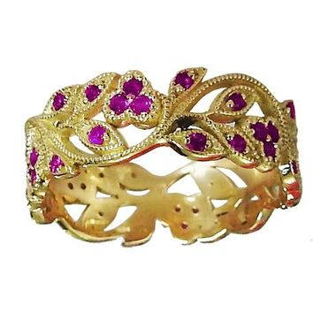 18K Yellow gold Amethyst eaves Band Purple Filigree Ring Milgrain Twig Ring