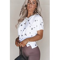 Shooting Sky Distressed Star Print Top