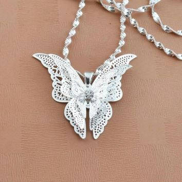 Silver Plated Butterfly Necklace 3-D