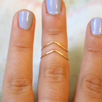 Chevron Hammered Brass  Knuckle Ring Set, Stacking Rings