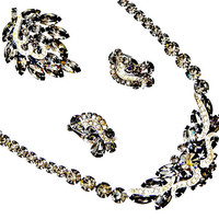Weiss Rhinestone Necklace Brooch and Earrings Set Black Diamonds and Icing Signed Rhodium Plated Silver Tone
