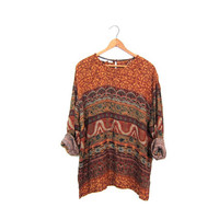 90s Tribal Blouse Drapey Sheer Rayon Tunic Top Long Sleeve Flowing Shirt Boho Ethnic Hippie Top Brown Green Floral Blouse Women's Medium