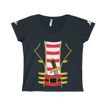 Ladies Pirate Halloween Costume T-Shirt Featuring Sleeve Skull Design Swashbuckler Sword Outfit Women's Scoop Neck Tee