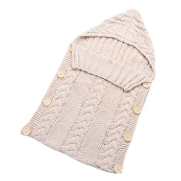 Knitted Swaddle Blanket with Buttons