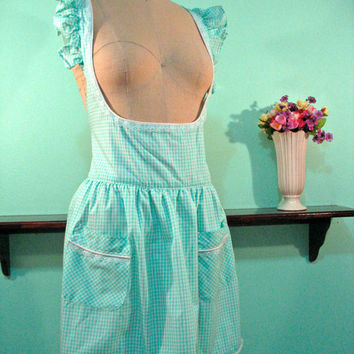 Mint Green Underbust Gingham Apron - Baking Cooking Kitchen