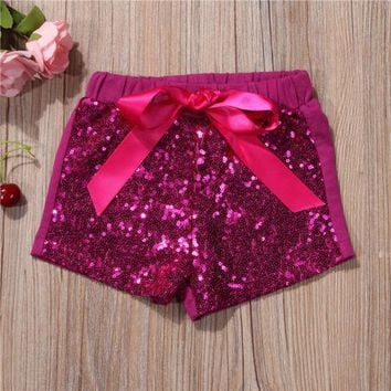 US Seller Infant Baby Girls Bow Party Shorts Bottoms Sequin Pants Summer Clothes