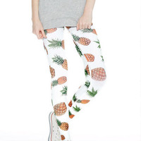Pineapple Print Leggings - White Multi