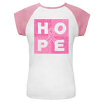 Breast Cancer HOPE Cube White and Pink Cap Sleeve T-Shirt