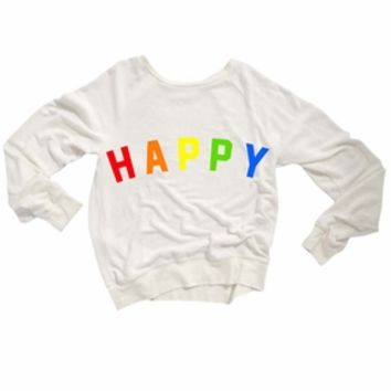 Wildfox Couture Happy Girl Baggy Beach Jumper in Clean White