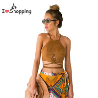 Women Sexy Suede Crop Top Camis Cropped blusa Blouse Casual feminino cheap clothes china ropa mujer veste femme Halter T Shirt