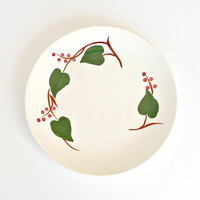 Blue Ridge Pottery Dinner Plate Stanhome Ivy Plate Vintage Blue Ridge Plate Hand Painted Green Ivy Red Berries