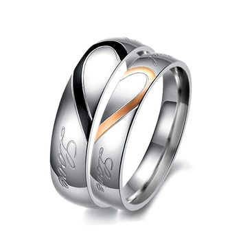 JEXXI Lover Best Gifts Silver Smooth Cirlce Half Heart Design Ring for Women Men Wedding Anniversary Finger Jewelry Anillo