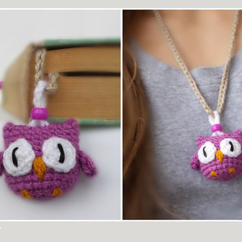 Owl Necklace & Bookmark in one piece - Purple Amigurumi 2in1- Schmuck Kinder Halskette Graduation Geschenk Owl Children Crochet Jewelry