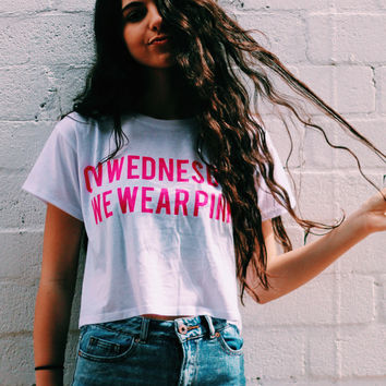 On Wednesdays Pink Crop Shirt