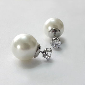 double sided earrings, double pearl studs/double pearl earrings/front back earrings/double ball earrings, stud back only 7.5