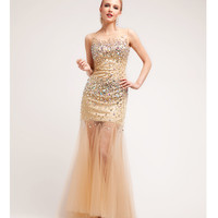 Gold Satin & Tulle Stone Mermaid Gown 2015 Prom Dresses