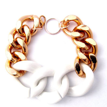 Rose Gold Chunky Curb Chain Bracelet With White OR Black Links
