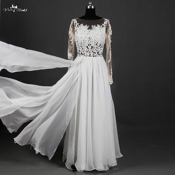 Boho Beach Wedding Dress 2015 See Through Sexy Lace Panel Pieces Chiffon Backless Wedding Gown Robe De Mariage RSW894