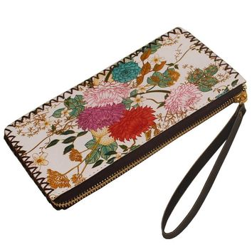 Fresh Girl PU Leather Wallets Printing Floral Female Cards Holders Women Wallet Thin Coin Purses Elegant Lady Graffiti Wallets