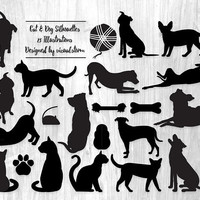 Digital Pet Silhouette Clipart Dog and Cat Silhouette Graphics Printable Pet Scrapbooking Clipart Toys Cat Dog Illustration for Pet Lovers