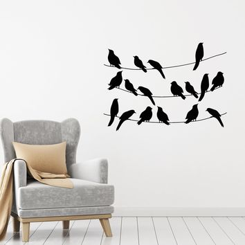 Vinyl Decal Wall Sticker Birds on the wires Nature Animal Decor Unique Gift (g060)