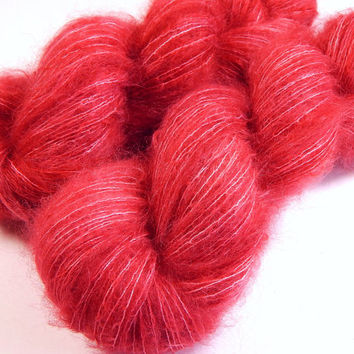 Hand Dyed Yarn - Superfine Kid Mohair / Silk Yarn (Lightweight) - Potluck Strawberry - Limited Edition - Knitting Yarn, Mohair Yarn, Red