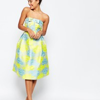 ASOS Bandeau Floral Midi Prom Dress With Bow at asos.com