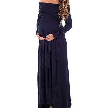 Mother Bee Maternity Mother Bee Navy Off-Shoulder Maternity Maxi Dress