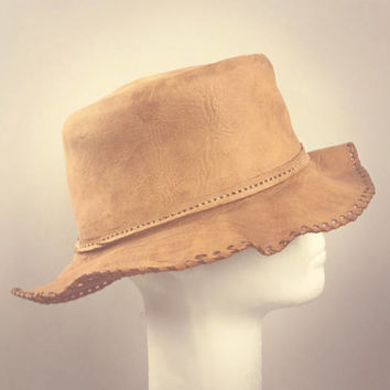ViNtAgE Leather Floppy Bucket Hat Folk Fest cap Festival Boho Gypsy Hippie Western Cowboy Coachella free people Mens Womans