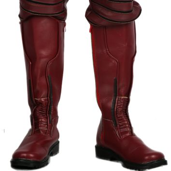 Xcoser Wally West Dark Red PU Knee-high Boots Kid Flash Cosplay Shoes Sale