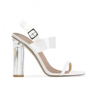 DESTINY PERSPEX CONTRAST STRAP HEELS IN WHITE