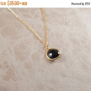 SALE 20% Off - BLACK STONE Necklace, Delicate Pendant, High Quality Gold Plated 2.5 Mic, Special Gifts, Friendship Gift, Bridesmaid gift