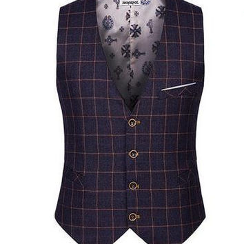 Top Seller Spring Autumn New Man Suit Vest  Fashion Slim Fit Thin Grid Plaid Men waistcoat Tops Free Shipping
