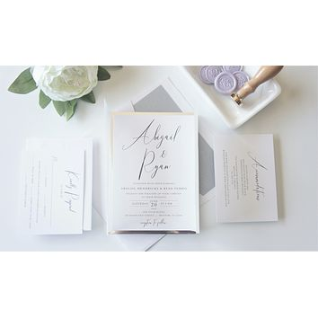 Lavender Vellum and Wax Seal Wedding Invitation - SAMPLE SET