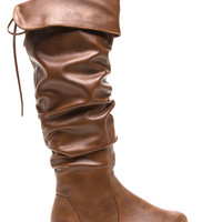 Slip In Faux Leather Boots
