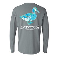 SALE Backwoods Born & Raised Comfort Colors Preppy Paisley Mallard Duck Bow Tie Unisex Long Sleeve Bright T Shirt