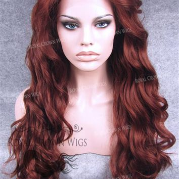 24 inch Synthetic Lace Front with Wave Texture in Rich Red