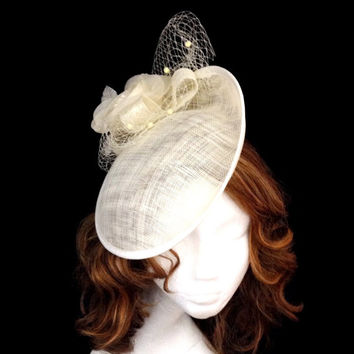 Ivory white flowered cocktail derby sinamay hat