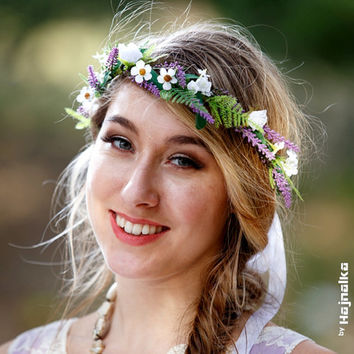Spring hair accessories wildflower crown wreath greenery circlet purple lavender wild montecasino mini daisies silk artificial bridal