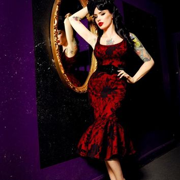 Folly Flair Mermaid Dress in Black and Red | Pinup Girl Clothing